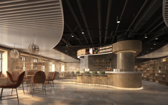 现代咖啡厅 休闲桌椅