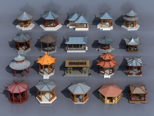 传统中式古建亭子组合