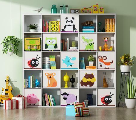 现代书柜 装饰边柜 吊灯