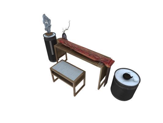 新中式古琴 实木琴桌 琴凳
