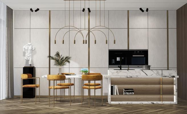 现代餐厅 餐桌椅 吧台 吊灯组合