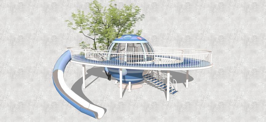 现代风格科幻儿童滑梯 游乐设施滑梯 儿童公园景观小品