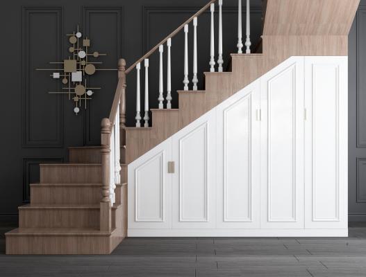 簡歐實木轉角樓梯儲物柜 樓梯儲藏柜 白色樓梯儲物柜