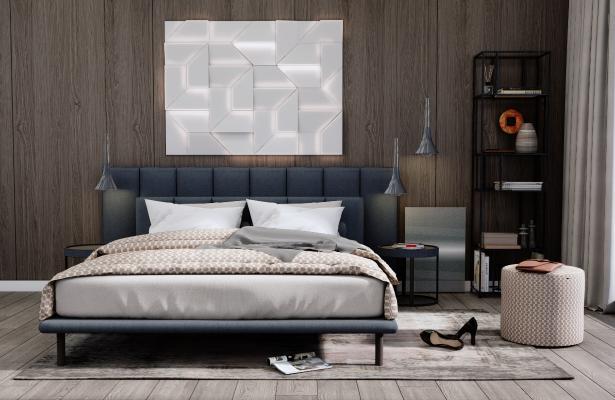 现代双人床 床头柜组合