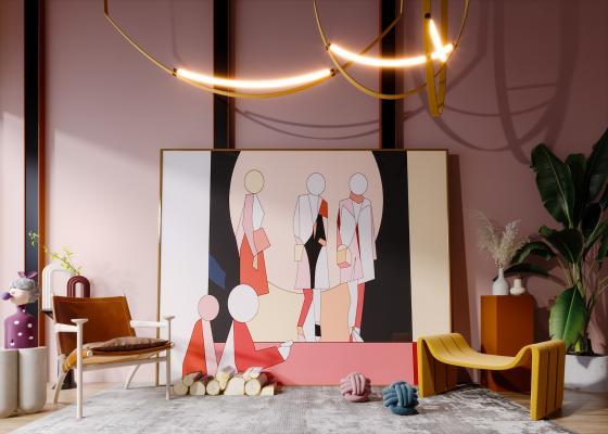 现代风格沙发茶几 抽象挂画 植物 盆栽 人物雕塑 地毯 矮凳