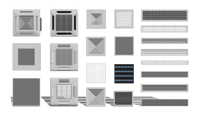 现代空调出风口 排气扇组合