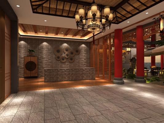 新中式茶馆 庭院休闲区