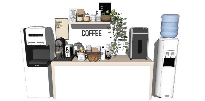 现代风格茶水间 咖啡机 饮水机 餐具 厨具组合