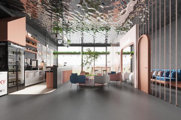 工业风咖啡厅 水波顶面 吧台