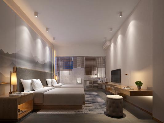 现代民宿客房 酒店 双人房