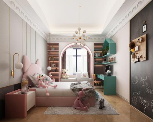 北欧卧室女孩房 吊灯 壁灯
