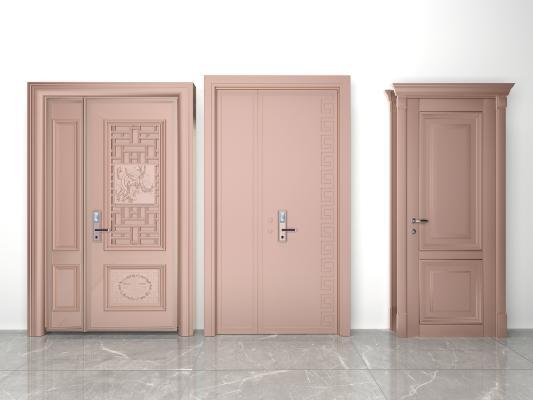 现代防盗门组合