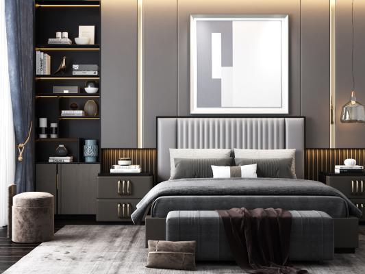 现代双人床 床头柜 挂画