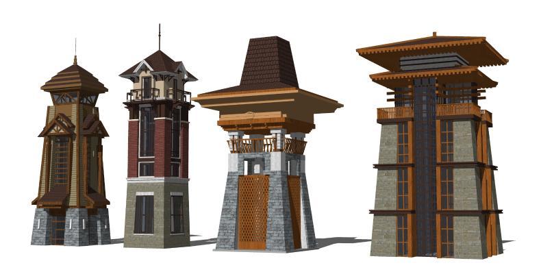 东南亚观景台 塔楼 钟楼 钟塔