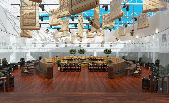 新中式风格图书馆 阅览室平台