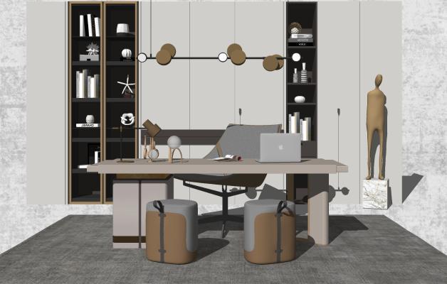 现代书房 书桌椅 书柜 雕塑