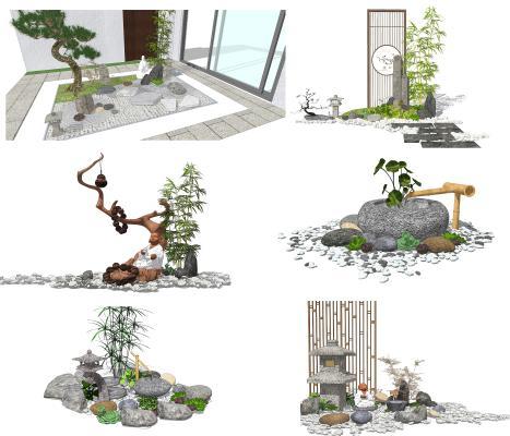 新中式庭院小品 景观小品 庭院景观