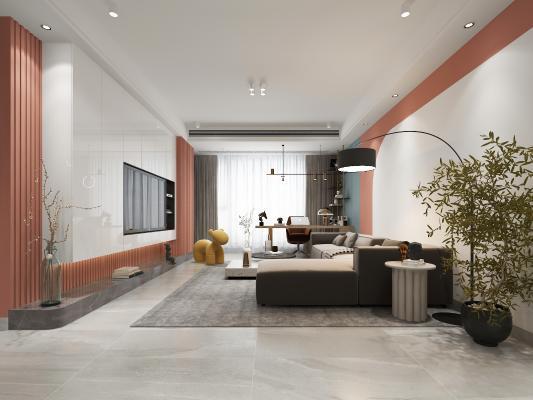 现代客厅 吊灯 沙发