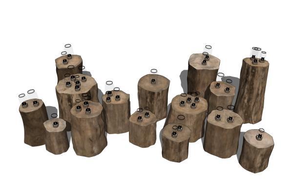 现代原木墩子树桩台灯