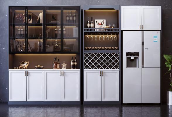 现代多功能酒柜组合 红酒 酒插 酒架 冰箱 装饰品