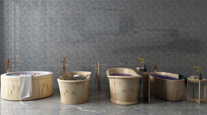 现代浴缸木桶