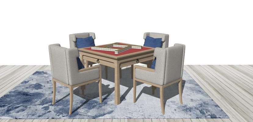 中式实木麻将桌 休闲桌椅