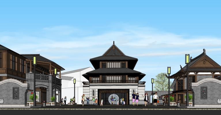 中式古建商业街 酒楼