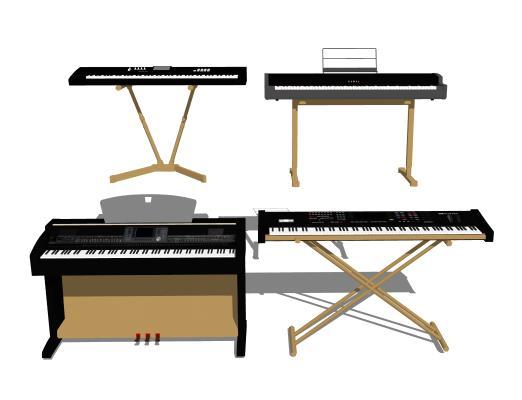 现代乐器 钢琴 电子琴组合
