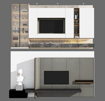现代电视背景柜组合