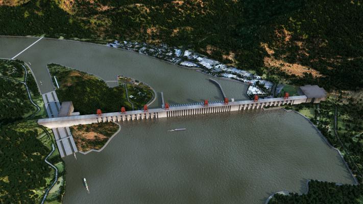 现代三峡水坝鸟瞰