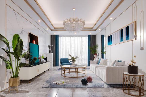 现代简约风格客厅 沙发 挂画 电视柜 茶几 抱枕 地毯 窗帘 装饰品