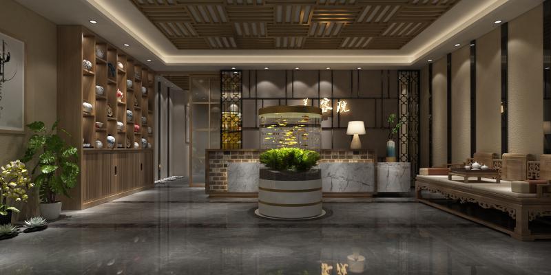 新中式美容院前厅 走道
