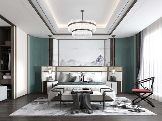 新中式轻奢卧室 床头背景墙 床具组合