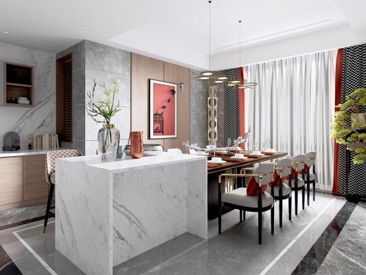 新中式餐厅 岛台 吧台