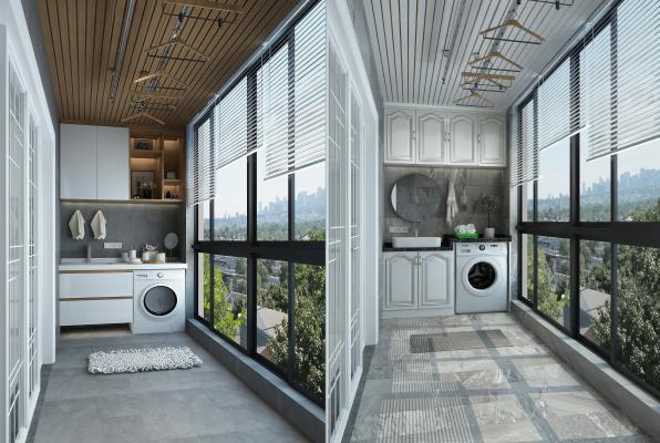 现代阳台洗衣机组合