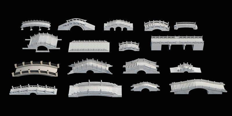 中式风格景观小品 古建桥