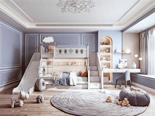 法式风格儿童房 上下铺儿童床 书桌
