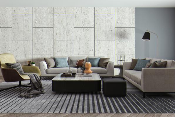 现代沙发茶几组合 布艺沙发 单人椅