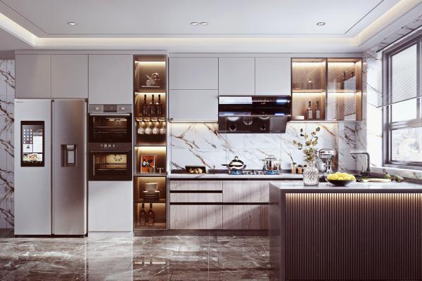 現代家居廚房 櫥柜 蒸烤箱
