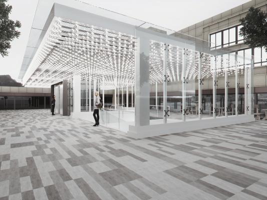 现代商场地下入口 装饰灯 电梯