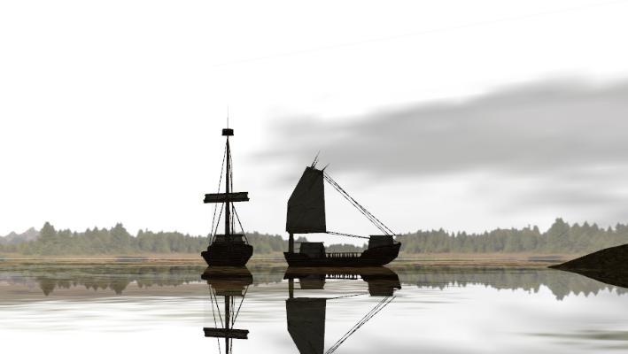 中式风格古代船