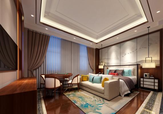 新中式酒店客房 大床房
