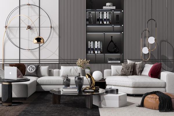 現代輕奢轉角布藝沙發茶幾 落地燈 書籍 裝飾品 擺件組合
