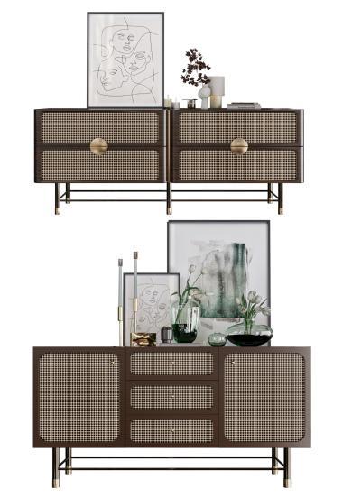 现代轻奢电视柜组合 装饰品 装饰画