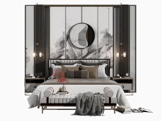 新中式床 背景墙组合