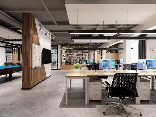 现代办公室 办公桌椅 休息区 沙发组合