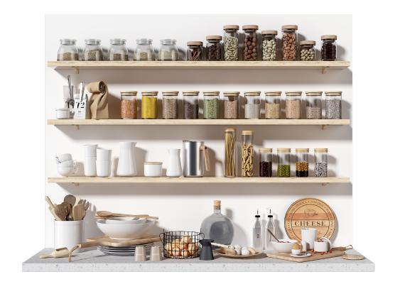 现代厨房用品组合 玻璃调味瓶 厨具餐具 调料罐 调料架