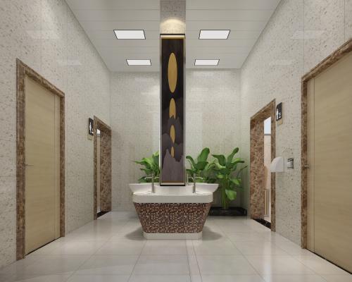 现代洗手间 盥洗区 绿植台 台上盆