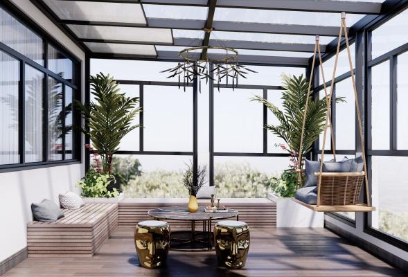 现代风格别墅阳台 阳光房 屋顶花园