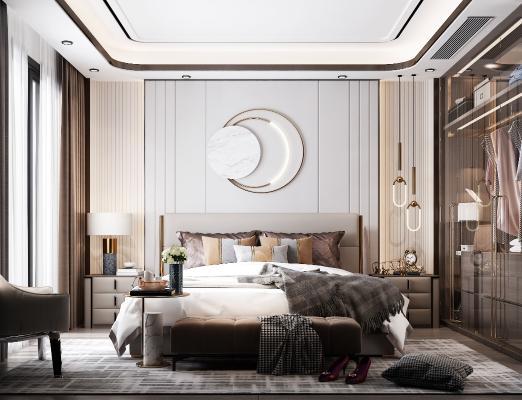现代卧室 双人床 吊灯